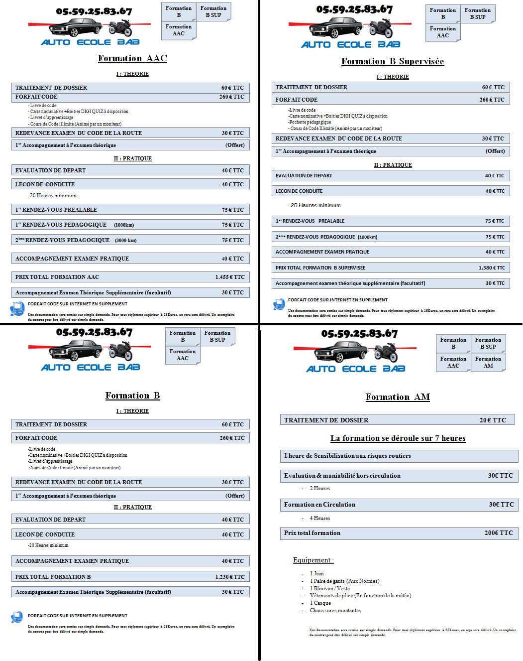 Formations et tarifs auto ecole bab anglet for Reglement interieur auto ecole